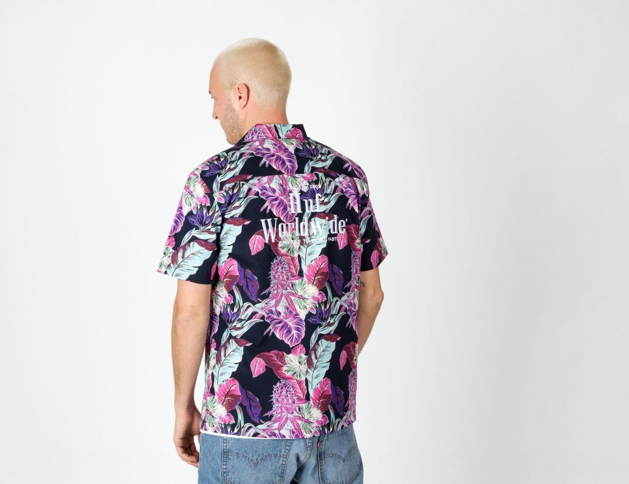 HUF Paraiso Resort Woven Shirt - Navy Blazer