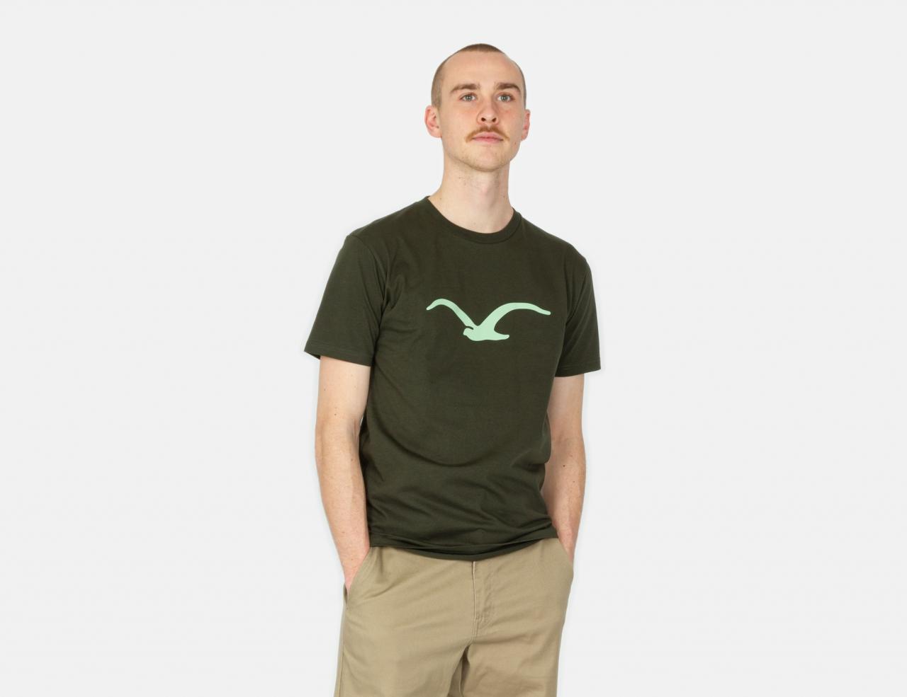 Cleptomanicx Möwe T-Shirt - Scarab Green