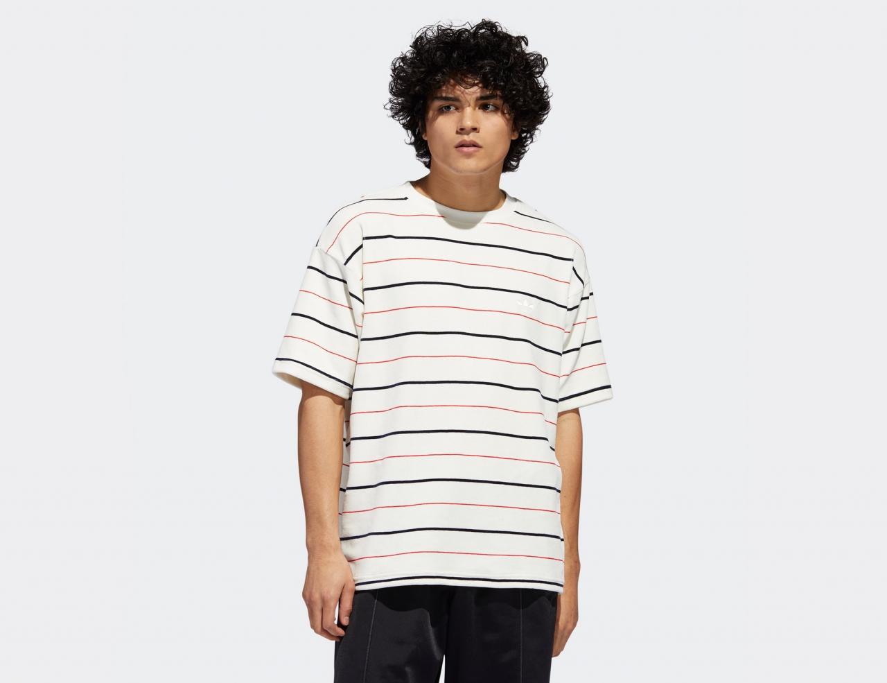Adidas Velour Jersey Shirt - Oyster White / Navy / Scarlet