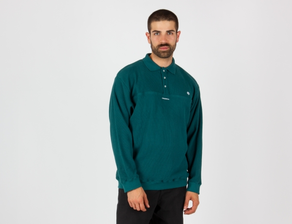 Magenta Waffle L/S Polo - Teal