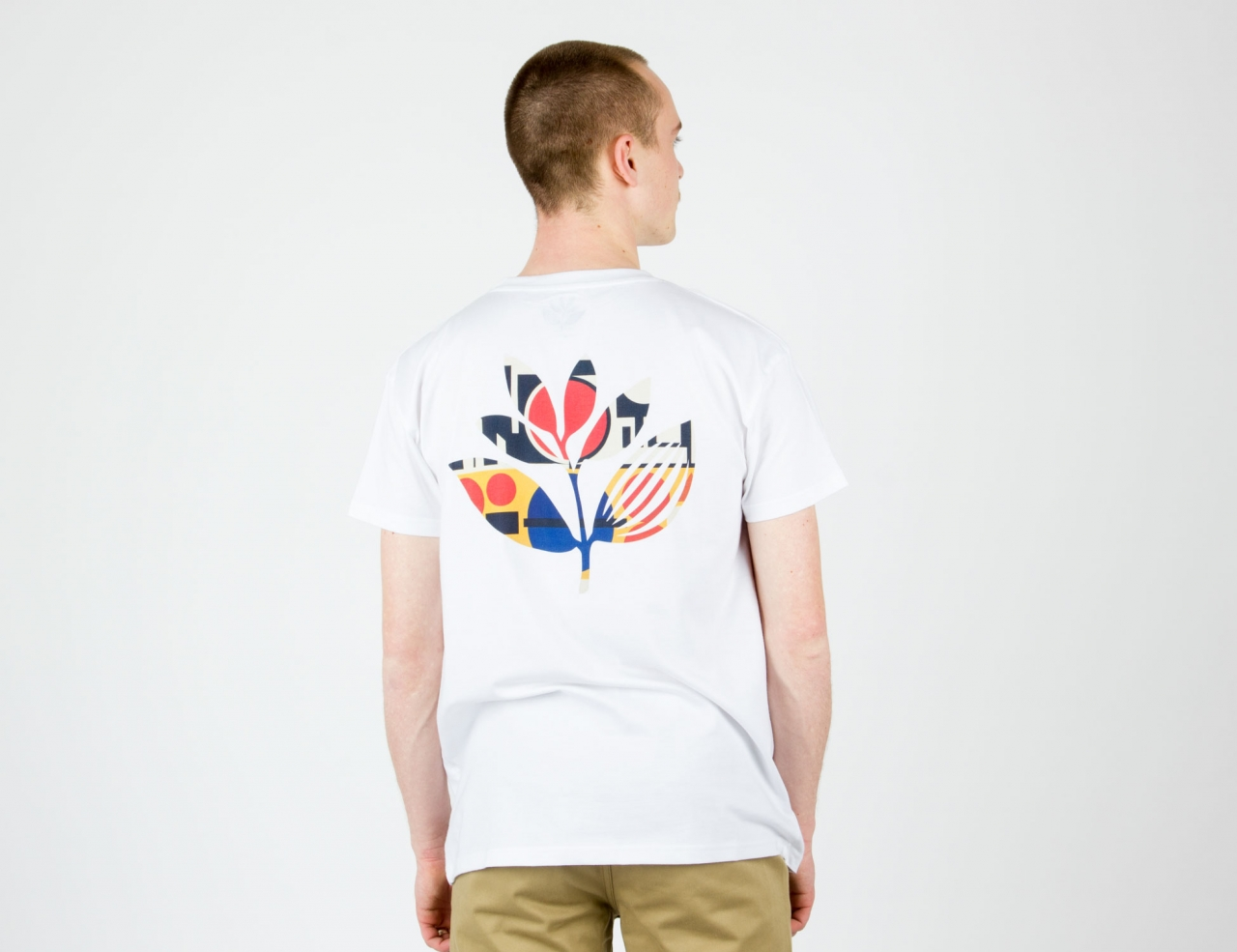 Magenta Shapes Plant T-Shirt-white