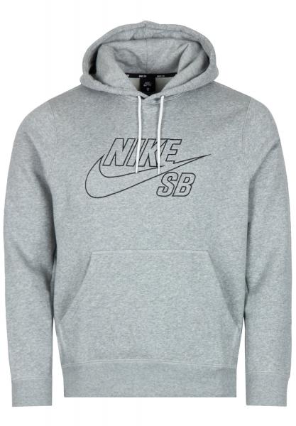 Nike SB Embroidery Hoodie - Grey Heather/Black