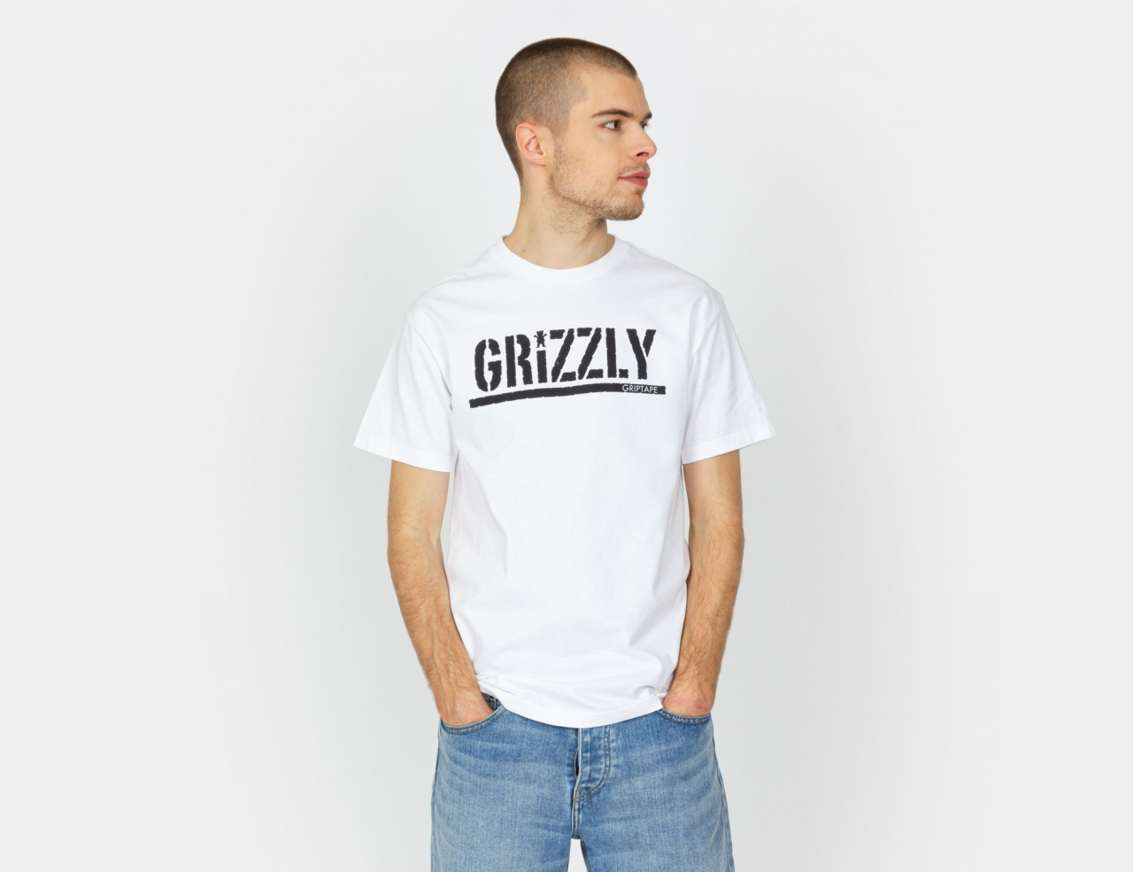 Grizzly Stamp Shirt - White / Black