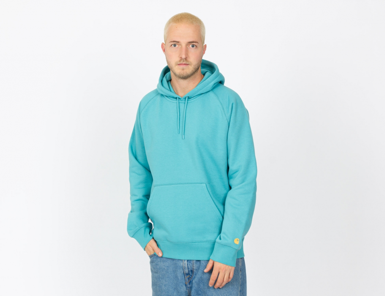Carhartt WIP Chase Hoodie - Frosted Turquoise/Gold